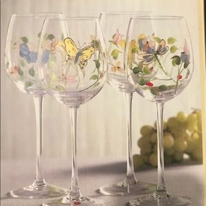 Wine glasses , Lenox Butterfly Meadow Hand-painted